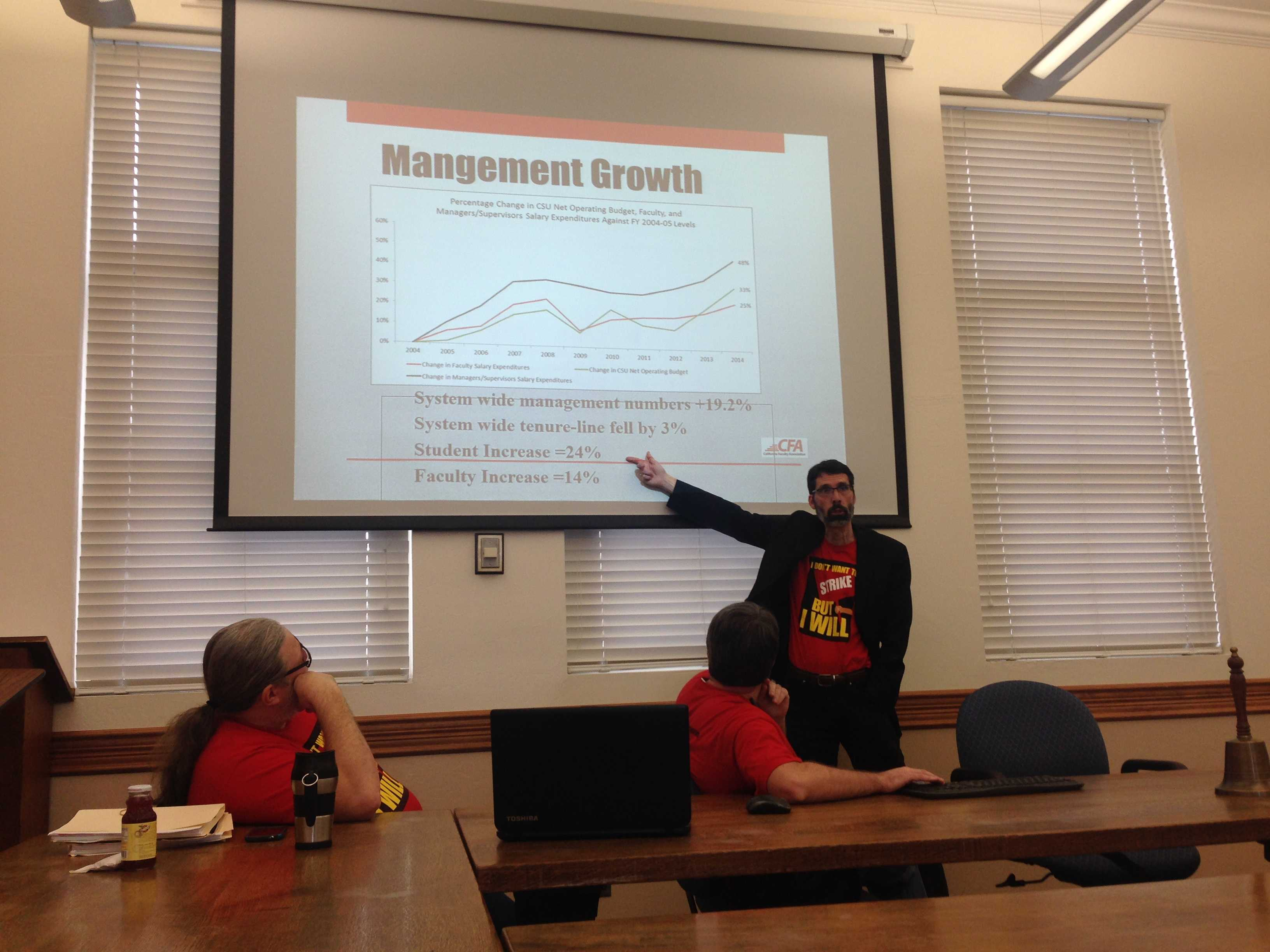 California Faculty Association Chapter President Timothy Sistrunk leads a discussion in Kendall Hall on the potential faculty strike, as political science professor Michael Coyle and CFA field representative Jason Conwell look on. Photo credit: Gabriel Sandoval