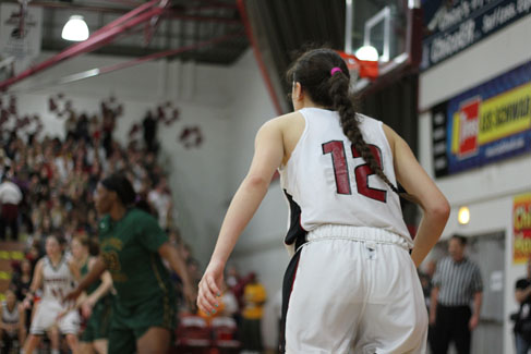 Sophomore Natalie Valenzuela waits for a pass from her teammate in a game on Feb. 19. Photo credit: Jacob Auby