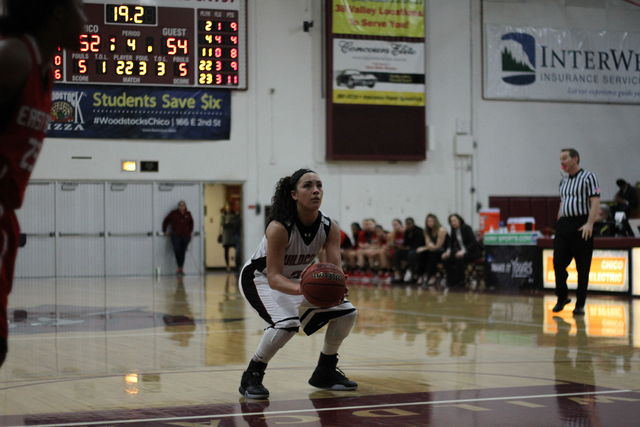 Sophomore Whitney Branham attempts a free throw in a close game. Photo credit: Jacob Auby