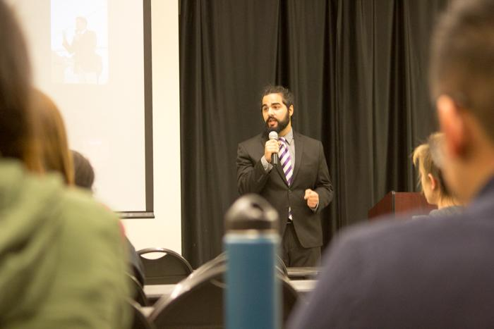 Calmena+treasurer%2C+Sultan+Bin+Meznh%2C+talks+about+why+he+and+his+organization+are+putting+their+efforts+toward+helping+Syrian+refugees.+Photo+credit%3A+Ryan+Corrall