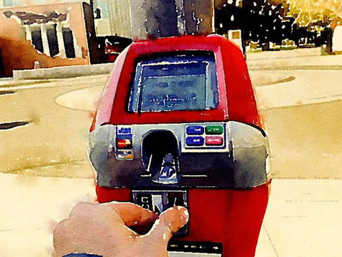 All proceeds from the Red-top  meters in downtown Chico go to help charity causes. Photo credit: George Johnston