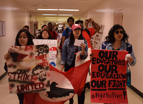 Students protesting CSU management in Kendall Hall for the CFA. Photo credit: George Johnston