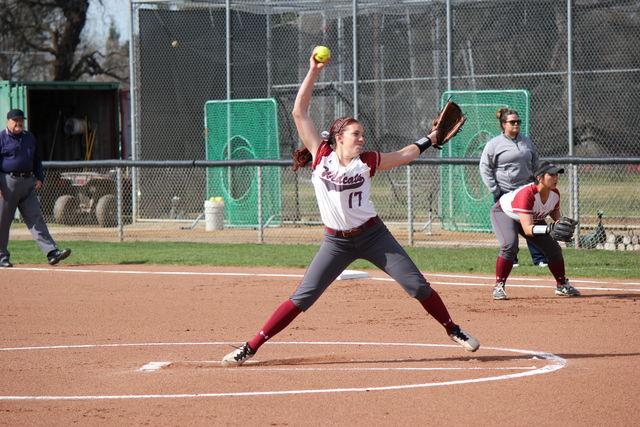 Senior Brooke Langeloh stares down her target in a game on Feb. 21. Photo credit: Lindsay Pincus