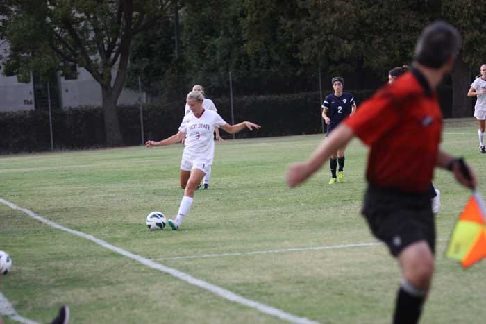 Junior Shelby Lanksbury prepares to launch the ball in a game last semester. Photo credit: Allisun Coote