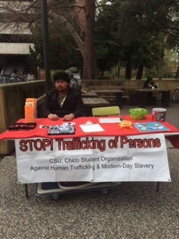 Vincent Le runs the booth for Stop Trafficking of Persons. Photo credit: Molly Sullivan