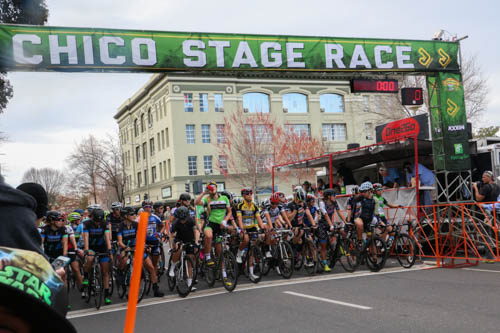 Bikers gather at the starting line for the women's pro race. Photo credit: Megan Moran