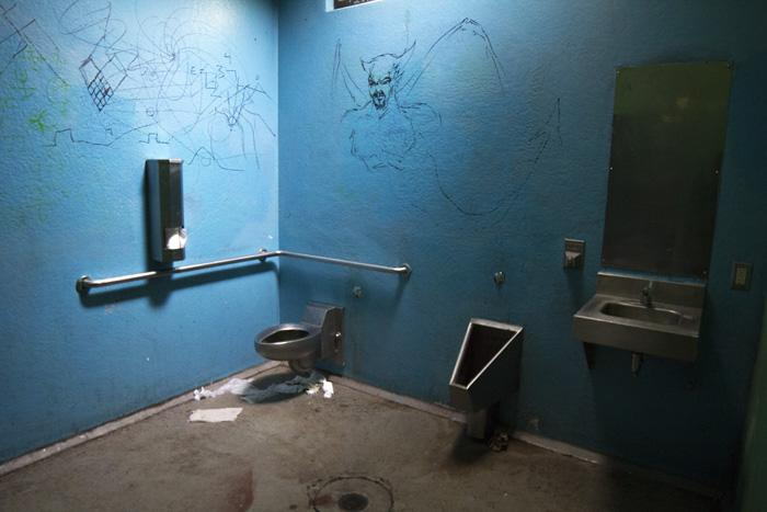 City Plaza's bathrooms are often vandalized and usually require extra cleaning. Photo credit: Ryan Corrall