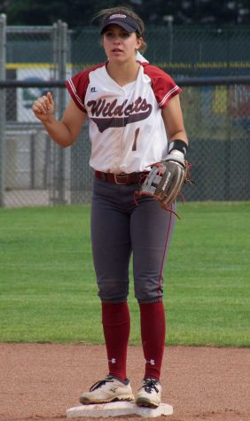 First-year Rachel DeHart waits for the ball at second base before an inning. Photo credit: Nick Martinez-Esquibel