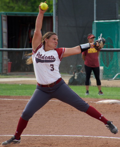 Sophomore Haley Gilham winds up to throw a pitch in a game against Cal State Dominguez Hills on April 8. Photo credit: Nick Martinez-Esquibel