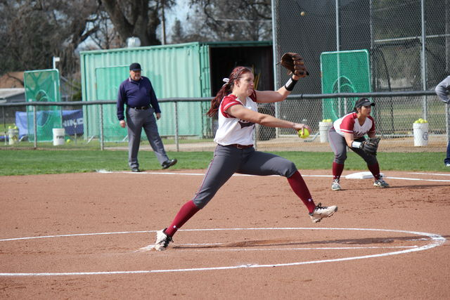 Senior Brooke Langeloh launches a pitch to the plate. Photo credit: Lindsay Pincus