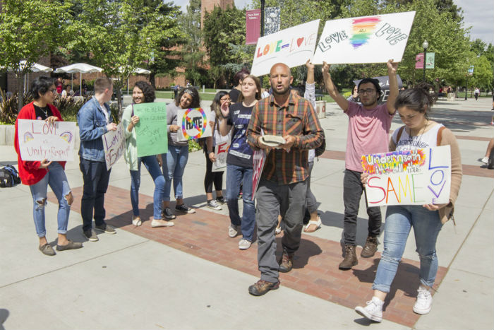 Students rallied against Christian advocate, Ronald Underwood.