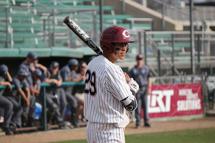 Junior Sonny Cortez looks to the dugout in a game against Academy of Art. Photo credit: Lindsay Pincus
