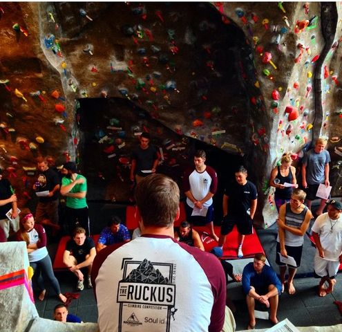 Contestants at last year's rock climbing competition. Photo courtesy of George Johnston's Instagram