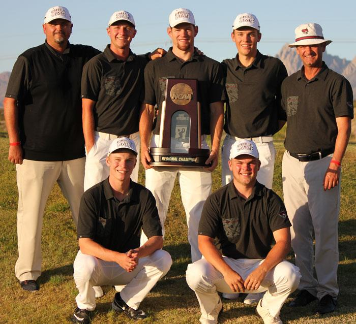 The+Chico+State+golf+team+celebrates+its+regional+championship.+Photo+credit%3A+Chico+Wildcats