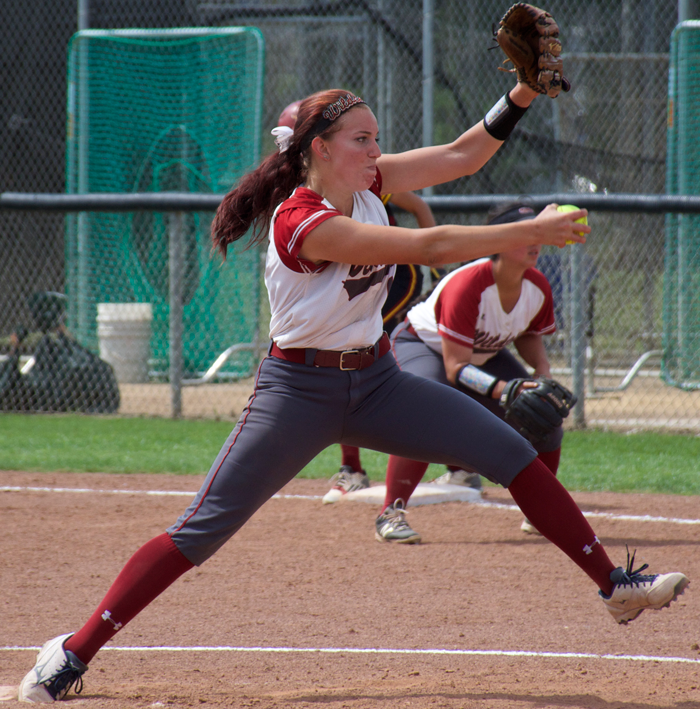 Senior Brooke Langeloh launches a pitch during a game against Cal State Dominguez Hills. Photo credit: Nick Martinez-Esquibel