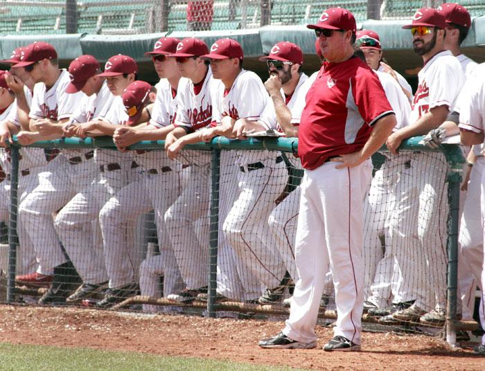 The Chico State baseball team looks on during an important game against Sonoma State. Photo credit: Jacob Auby