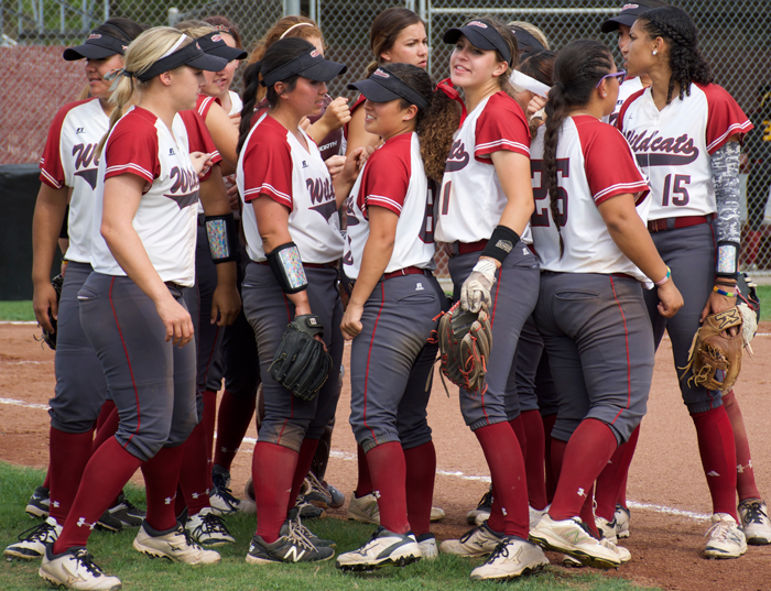 The+Chico+State+softball+team+talk+between+innings+in+a+game+against+Cal+State+Dominguez+Hills.+Photo+credit%3A+Nick+Martinez-Esquibel