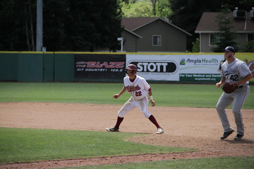 Junior Casey Bennett takes his lead from first during a game against Sonoma State. Photo credit: Jacob Auby