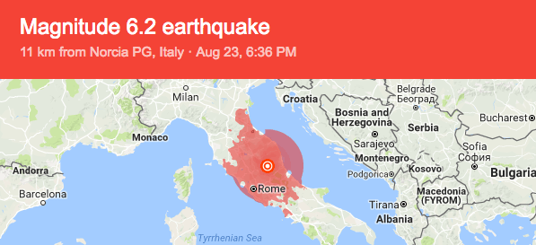 Affected areas of the Norcia region in Italy. Photo from U.S. Geological Survey