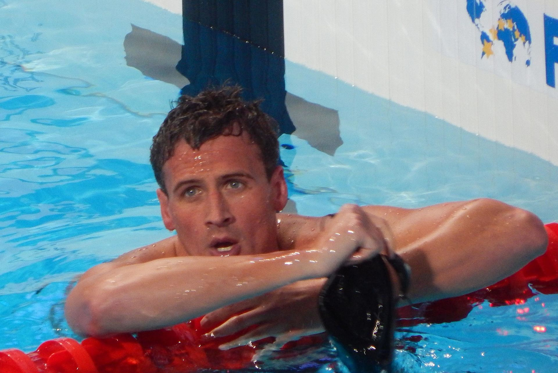 Ryan Lochte after the men's 4x200m race. Photo courtesy of Creative Commons