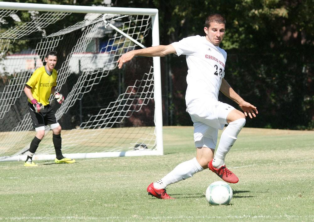 Chico State men's soccer shows off their skills dribbling the ball. Photo Credit the Orion