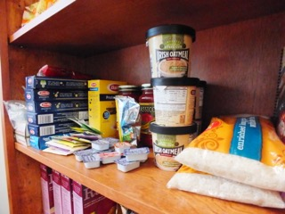 Non-perishable food on the shelves of the Wildcat pantry. Photo credit: Molly Sullivan