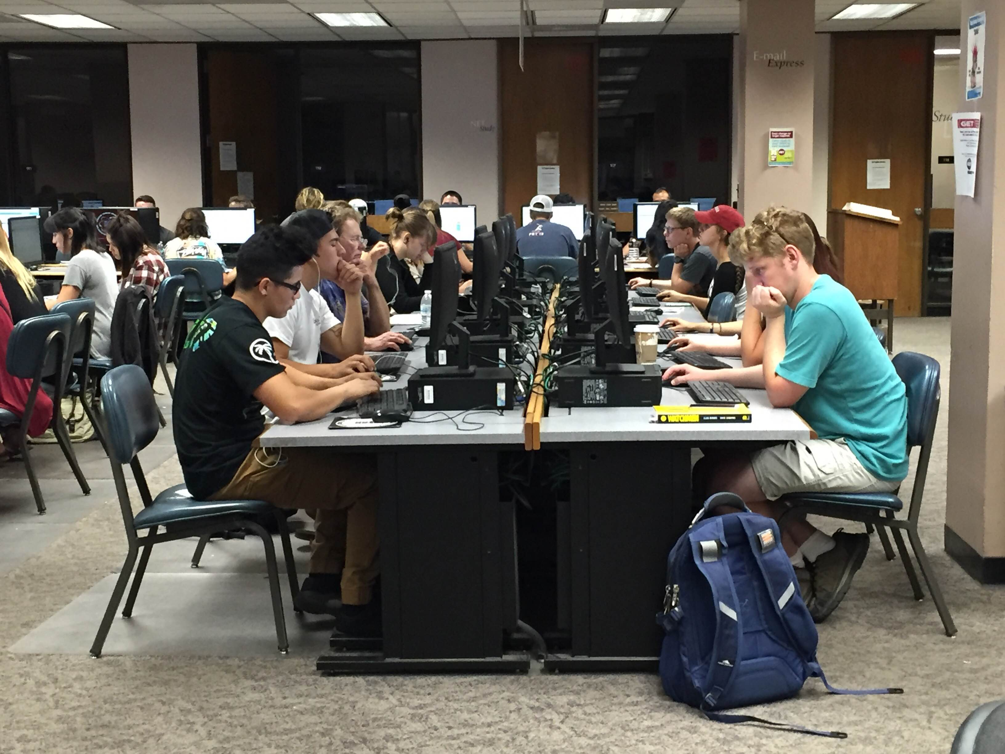 Students utilizing the Meriam Library computer lab Photo credit: Kyla Linville