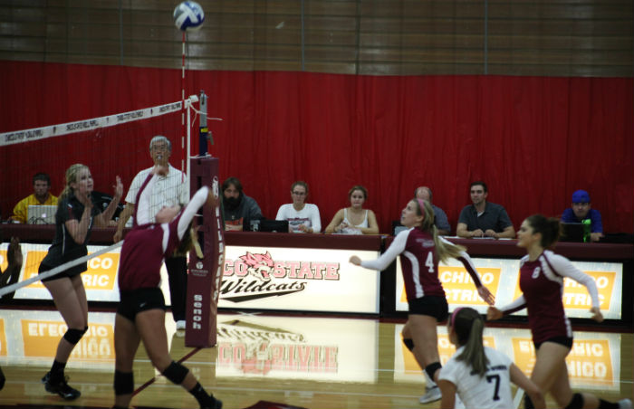 Chico State Women's Volleyball competing in CCAA play last season. Photo credit: John Domogma