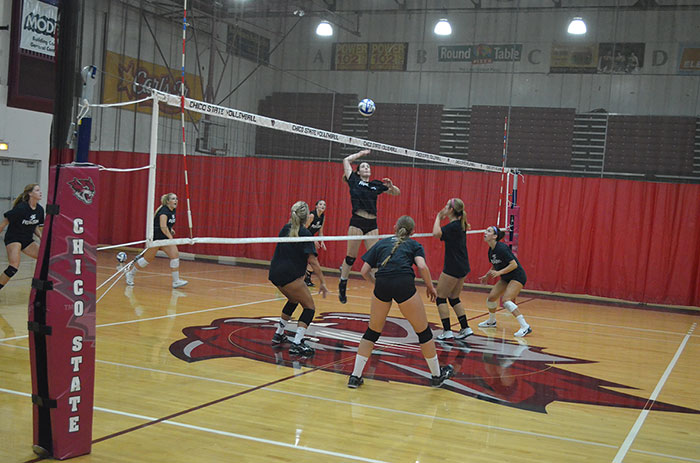 Chico+State+women%27s+volleyball+practices+a+spike+before+their+game.+Photo+credit%3A+Jordan+Jarrell