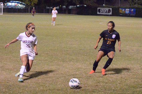 Junior defender Brooke Coelho dribbles the ball away from a defender. Photo credit: Jordan Jarrell
