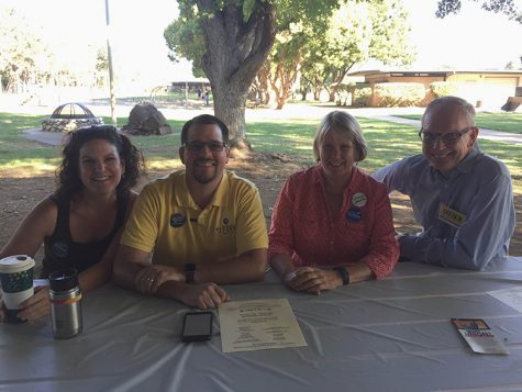 (left to right) Tami Ritter, Randall Stone, Ann Schwab and Karl Ory pose for a photo at the Labor day breakfast on Sept. 5. Photo credit: Carly Plemons
