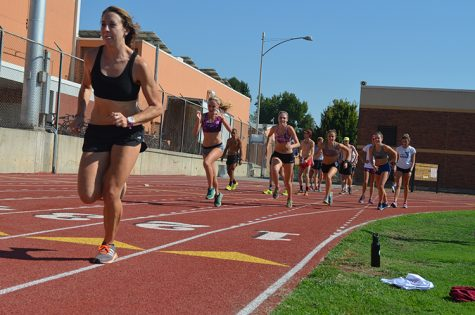 Sadie Gastelum leads the women's cross country team during the 'Cats practice. Photo credit: Jordan Jarrell