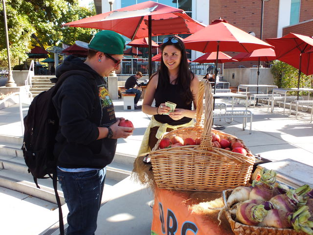 Ali McMorrow (left), senior crops and horticulture major, buys a pomegranate from Kim Narol (right), marketing manager for the Organic Vegetable Project. Photo credit: Molly Sullivan