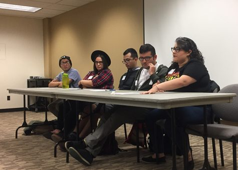 (right to left) Panelists Cass Hernandez, Aldo Cruz, Gerson Cortes, Rachel Biccum and Seve Christian discuss how they navigate the intersection of their Latinx and LGBTQ identities. Photo credit: Bianca Quilantan