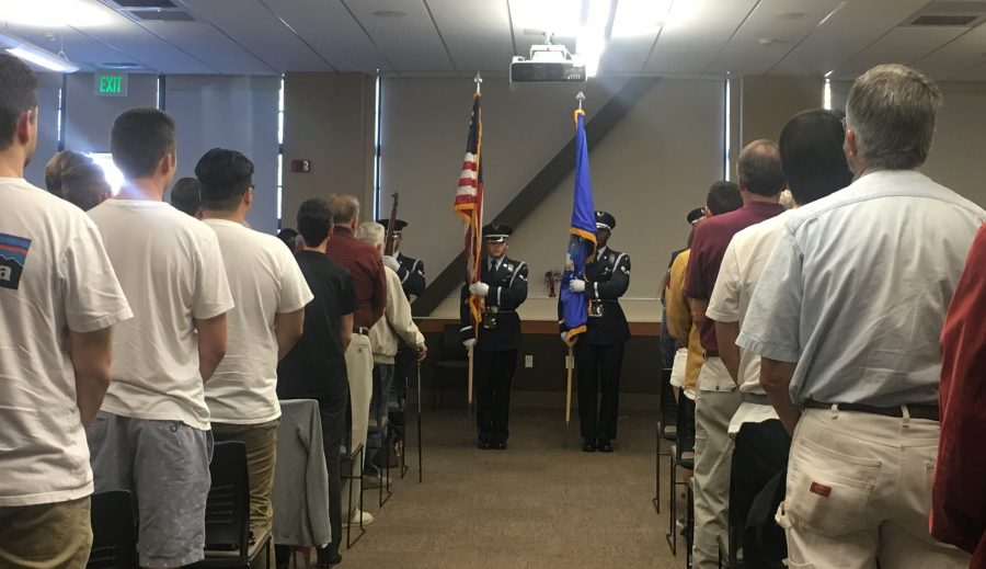 Attendees participate in the Pledge of Allegiance. Photo credit: Kayla Fitzgerald