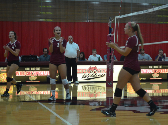 First-year outside hitter Bekah Boyle celebrates winning a set with her teammates. Photo credit: Jordan Jarrell