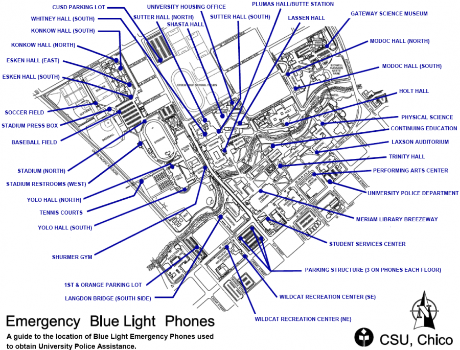 Map of Emergency Blue Lights located on campus. Photo credit: University Police