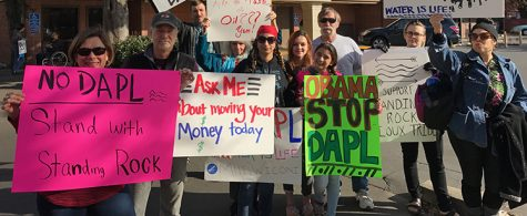 Community members stand in solidarity with Standing Rock