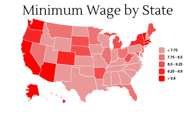 Minimum wage prices in the U.S. Photo credit: Daniel Wright