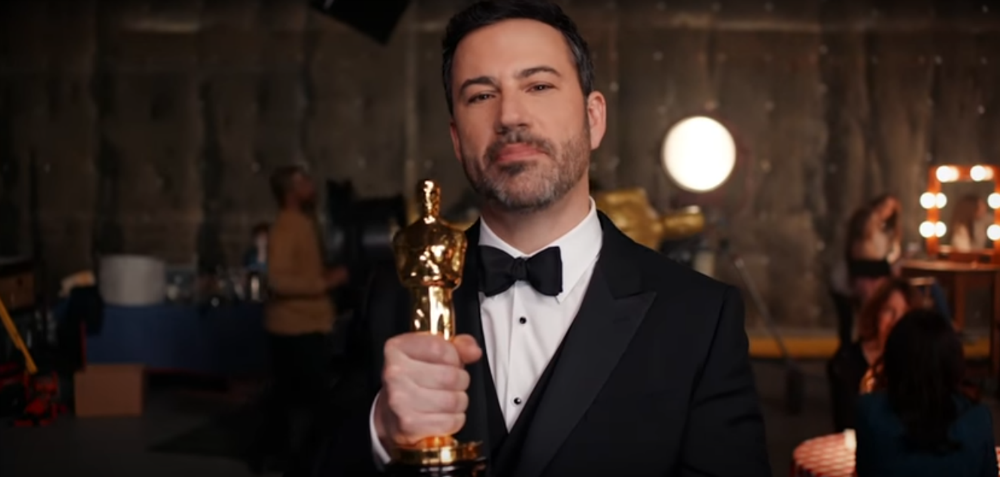 Host Jimmy Kimmel doing promotional ad for the Academy Awards. Screenshot from The Oscars' youtube page.