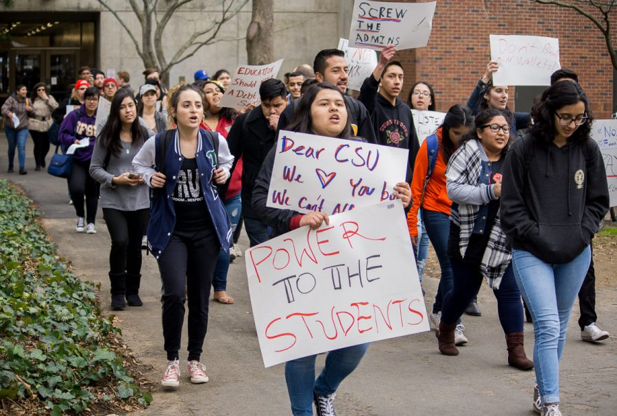 Chico State student protest the tuition increase with Students for Quality Education on Feb. 1. Photo credit: Carlos Islas
