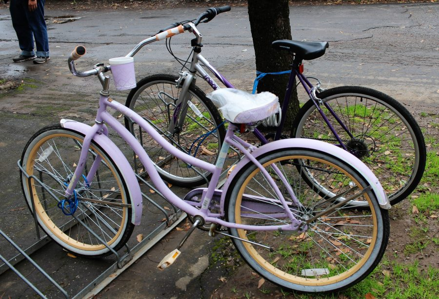 A bike with the seat covered to protect it from rain damage. Photo credit: Sophia Robledo-Borowy