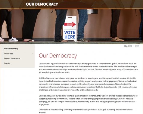 Our Democracy website's home page. Photo credit: Chico State's Our Democracy website.