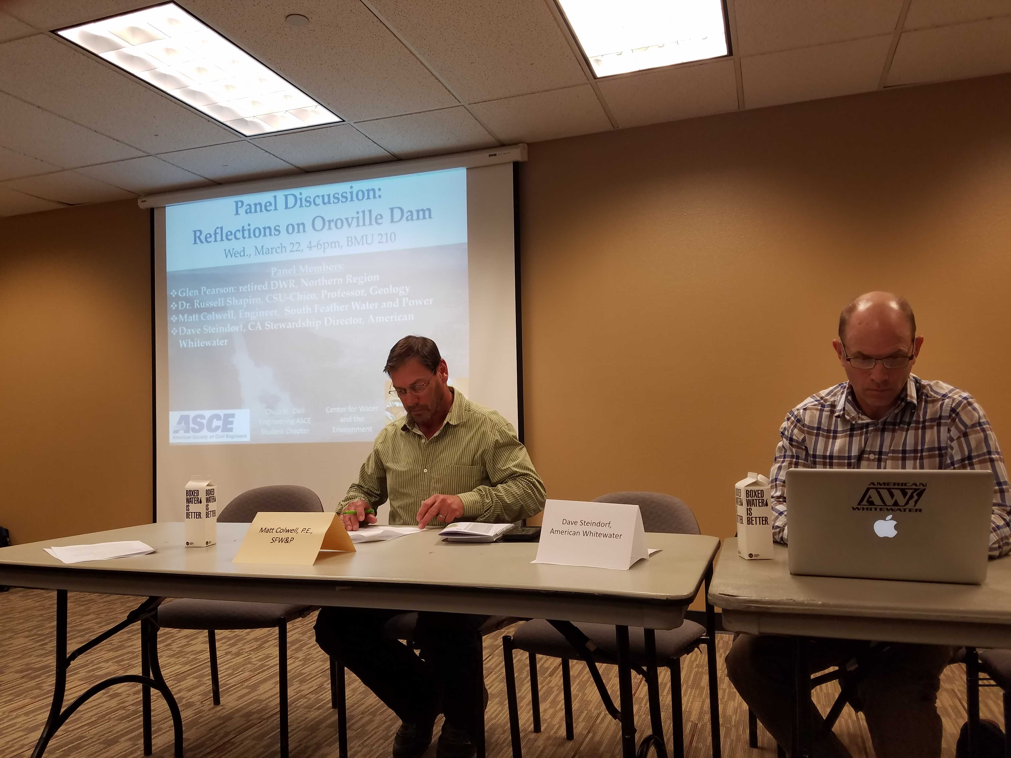Oroville Dam Panel Matt Colwell - Left Dave Steindorf - Right Photo credit: Daniel Wright