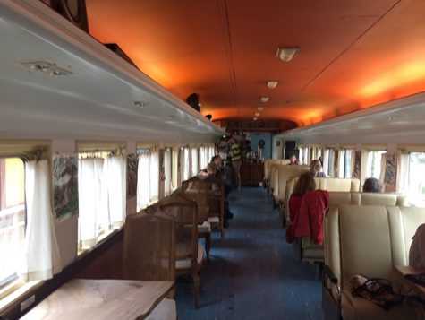 Inside view of the train shaped coffee shop. Photo credit: Jovanna Garcia