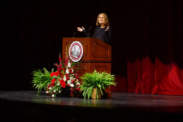 Gloria Steinem at the beginning of her Book in Common lecture. Photo credit: Floritzel Salvador