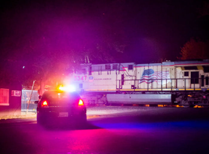 Chico Police investigate train collision involving a pedestrian. Photo credit: Garrett Isley