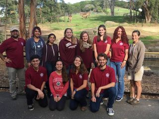 Dr. Tag Engstrom, Co Advisor, Dr. Rebecca Brunelli, Co Advisor and Gina Kinzley part of the Oakland Zoo Elephant Team with Chico state students at Oakland zoo.  Photo credit: Farshad Azad Photo credit: Jacqueline Morales