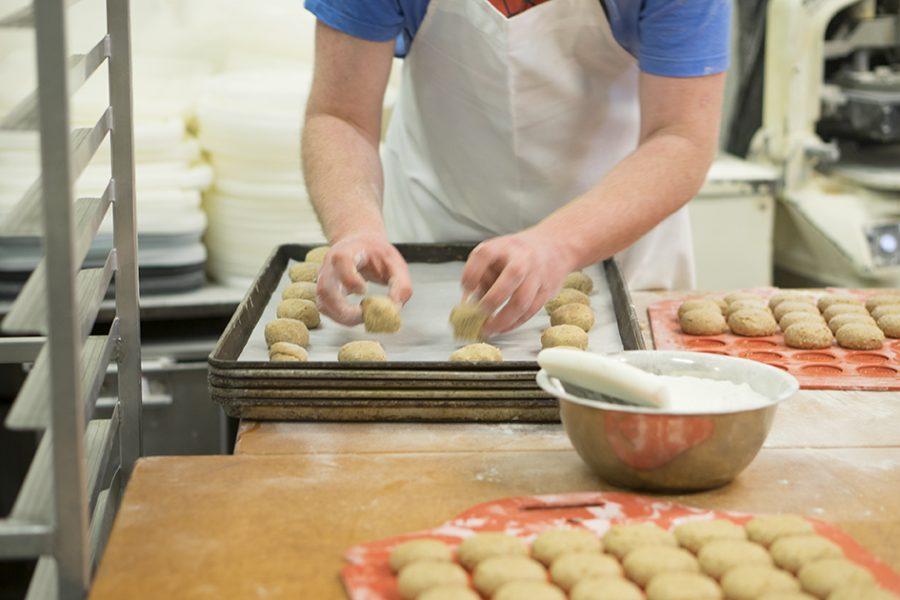 Properly placing Wheat dough circles to make some sweet wheat rolls! Photo credit: Jordan Rodrigues
