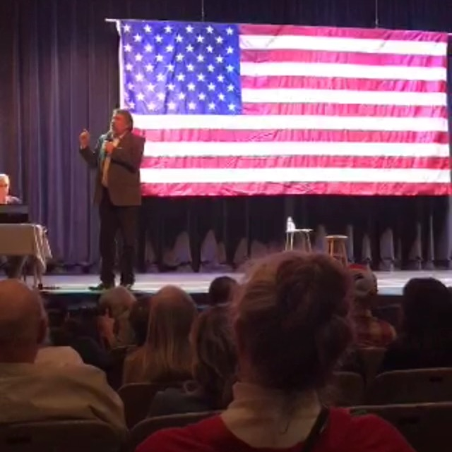 An audience member said during the town hall  she does not want LaMalfa to have a say over her body. LaMalfa says that's fine but the tax payer shouldn't have to pay for it. Photo credit: Screenshot from Emily Bertolino's periscope